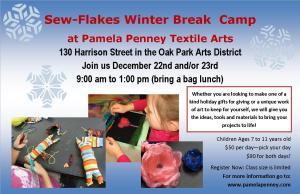 Sew-Flakes Winter Break camp flyer 2014