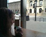 finishing off a perfect mother/daughter day with a cup of coffee and a view of the Art Institute - Black Hawk Lions!